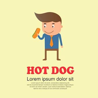 かわいい漫画セット、男とホットドッグ