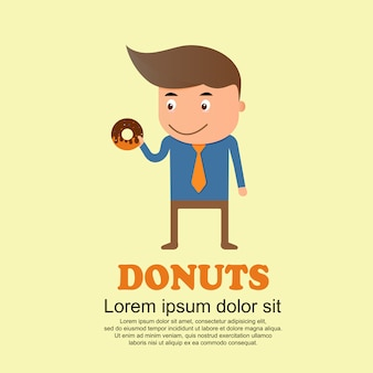Cute cartoon set, man and big donuts