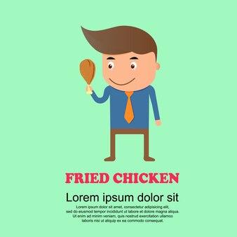 Cute cartoon set, man and fried chicken