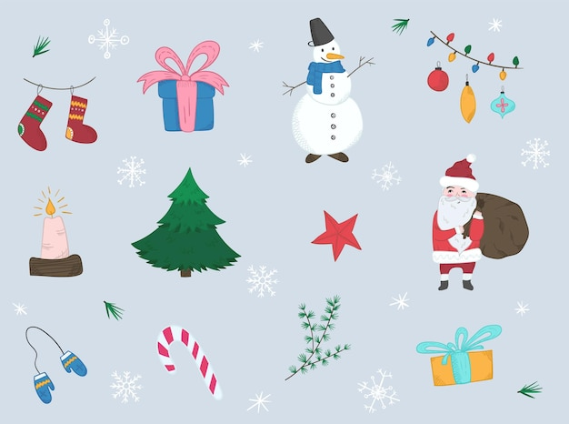 밝은 크리스마스 요소의 귀여운 만화 세트