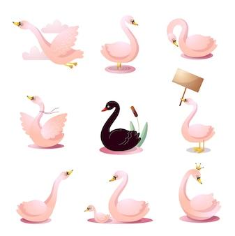 Милый мультяшный набор лебедей в разных позах.