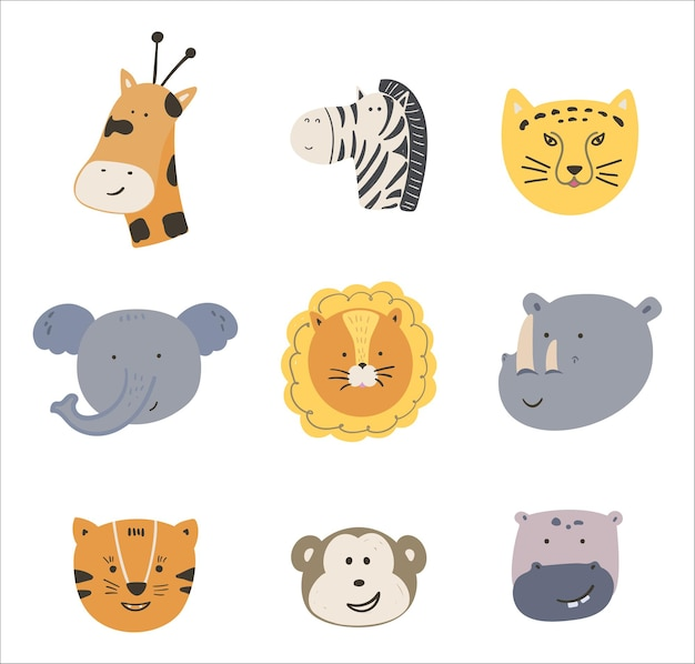 野生のアフリカの動物の顔のかわいい漫画セット。ベクトル手描き動物の頭のイラスト。キッズ生地、保育園に最適です。キリン、象、ライオン、トラなどが白い背景で隔離されています。