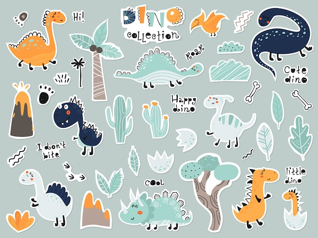 Cute cartoon set of stickers with dinosaurs, plants, volcano