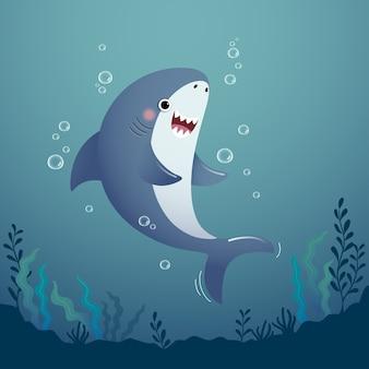 Cute cartoon shark in the deep blue water.