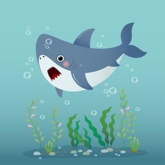 Cute cartoon shark swimming underwater in the blue ocean.