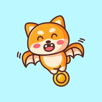 Cute cartoon shiba bat carrying coins
