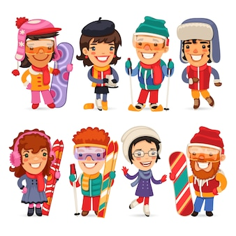 Cute cartoon skiers skaters and snowboarders
