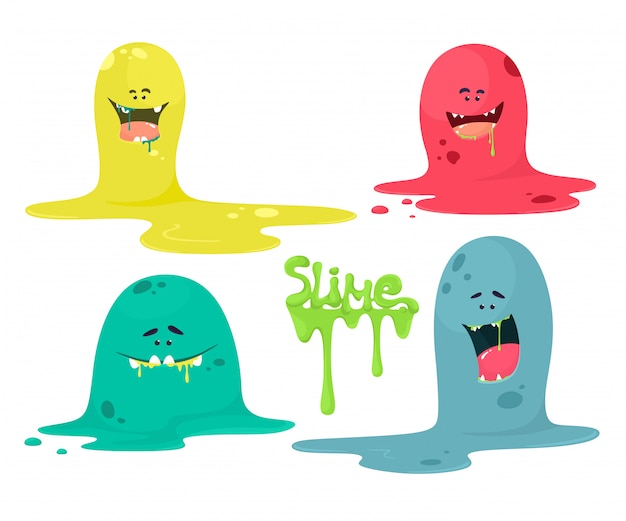 Cute cartoon slime monsters, liquid characters.set on a white background with lettering slime.