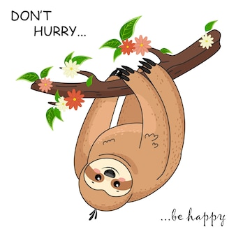 Cute cartoon sloth. funny brown cute animals happy. cute baby sloth