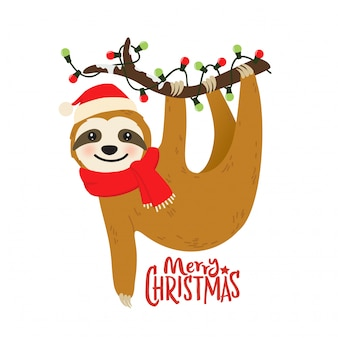 Cute cartoon sloth graphic for christmas holiday