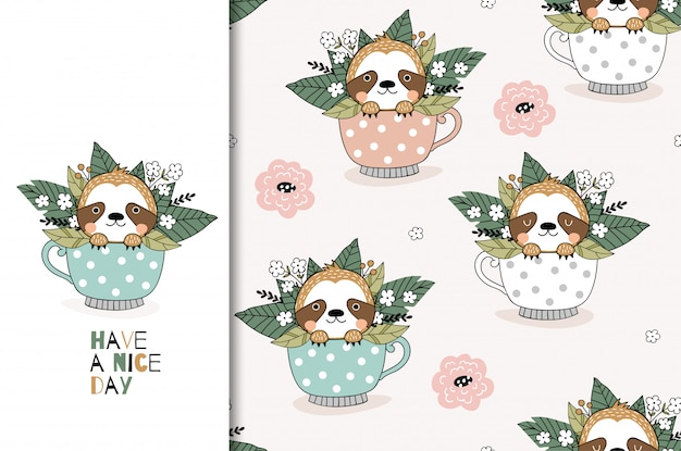 Cute cartoon sloth in mug. card and seamless pattern set. hand drawn surface design illustration.