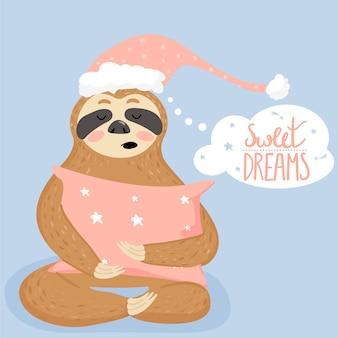 Cute cartoon sloth sleeping with piillow.