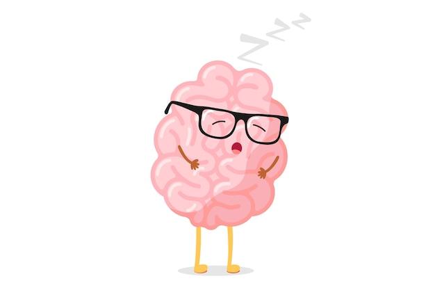 メガネのリラクゼーションとかわいい漫画スマート人間の脳。中枢神経系睡眠器官面白いベクトルイラスト