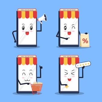 Симпатичный мультипликационный концепт магазина смартфонов для рекламного контента