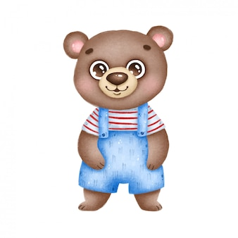 Cute cartoon smiling brown bear in blue overalls