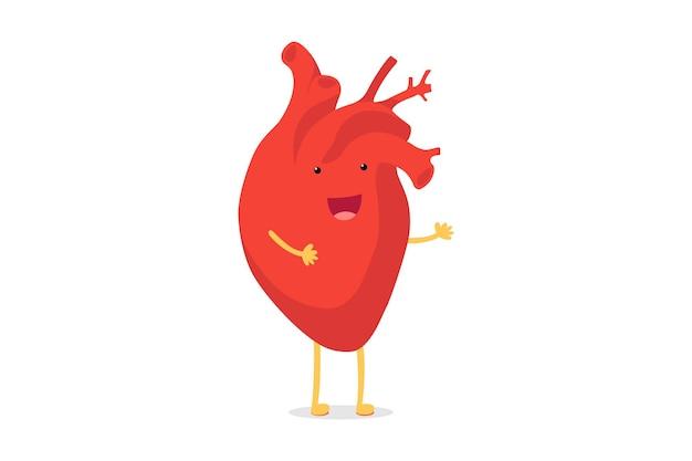 Симпатичный мультяшный улыбающийся здоровый человеческий сердечный персонаж счастливые эмоции смайликов. забавная кардиология органов кровообращения. векторная иллюстрация eps