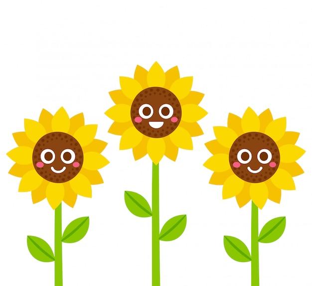 Cute cartoon smiling sunflowers illustration