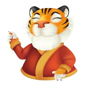 빨간 옷을 입은 귀여운 만화 웃는 호랑이 캐릭터. 흰색 배경에 고립 된 재미 있는 줄무늬 야생 동물의 벡터 일러스트 레이 션. 중국 달력으로 올해의 상징 프리미엄 벡터
