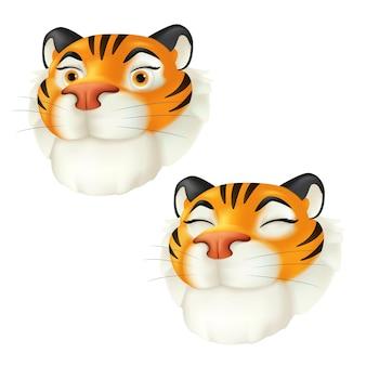 귀여운 만화 웃는 호랑이 머리. 중국 달력으로 올해의 조디악 기호입니다. 흰색 배경에 격리된 줄무늬 야생 동물 캐릭터의 벡터 재미있는 삽화. 3d 아이콘 프리미엄 벡터