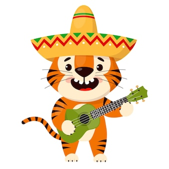 Cute cartoon smiling tiger in a sombrero plays the guitar symbol of year of the tiger
