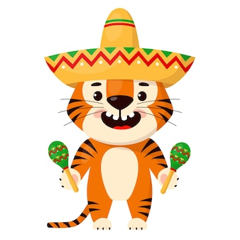 Милый мультяшный улыбающийся тигр с сомбреро и маракасами символ 2022 года тигра