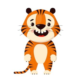 Милый мультфильм улыбающийся тигр