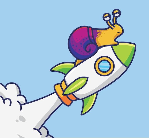 Симпатичная мультяшная улитка, идущая в космос с помощью ракеты-космонавта, векторная иллюстрация значок изолированного животного