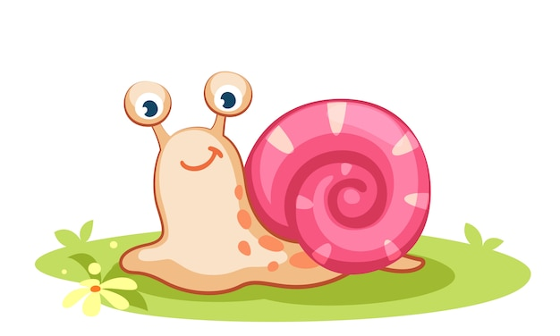 Cute cartoon snail vector illustration