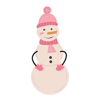 かわいい漫画の雪だるま。グリーティングカード、壁紙のデザイン、バナー。子供のイラスト