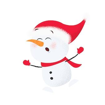 Cute cartoon snowman in santa hat having fun