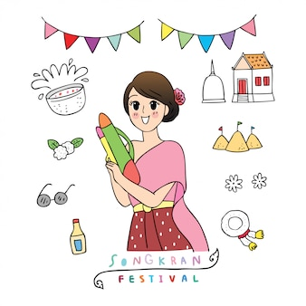 Cute cartoon songkran festival thailand. doodel woman in thai dress playing water gun.