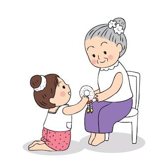 Cute cartoon songkran festival thailand. girl pay respect to grandmother.