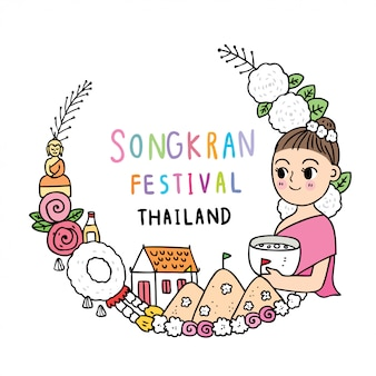 Cute cartoon songkran festival thailand. young girl  in thai dress