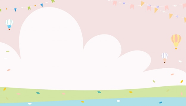 Cute cartoon spring background with copysace on green field with leaves falling in pastel colour, minimal background