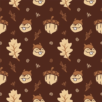 ナッツと秋の葉とかわいい漫画リスシームレスなパターンのベクトルの背景