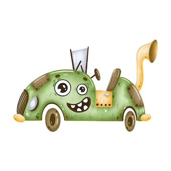 Cute cartoon steampunk green convertible car with eyes on a white background