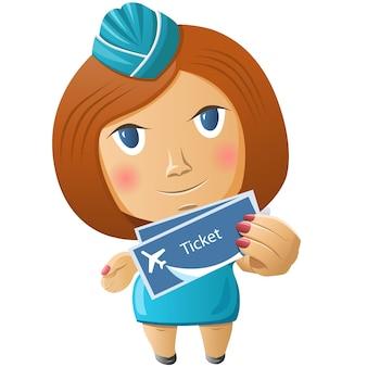 Cute cartoon stewardess at work holding airplane tickets