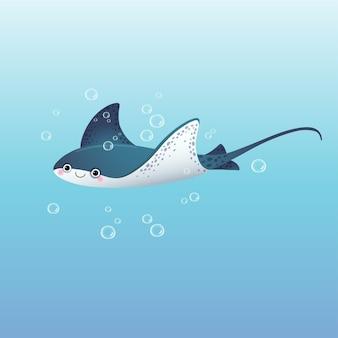 Cute cartoon stingray swimming in the deep blue sea.