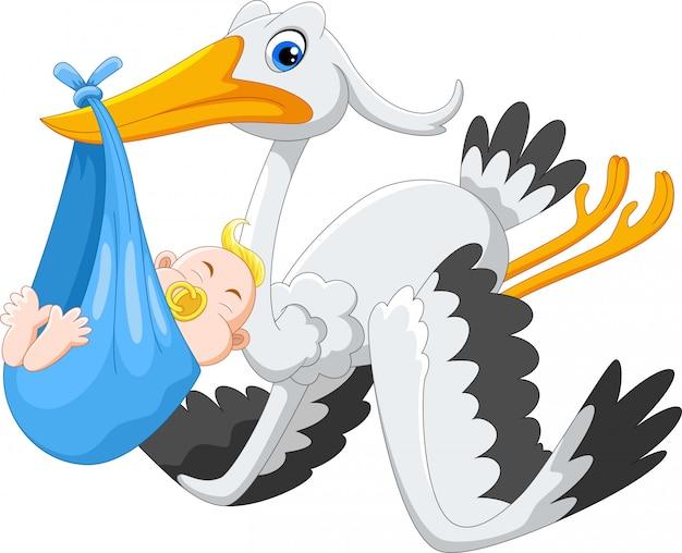 Cute cartoon stork carrying baby