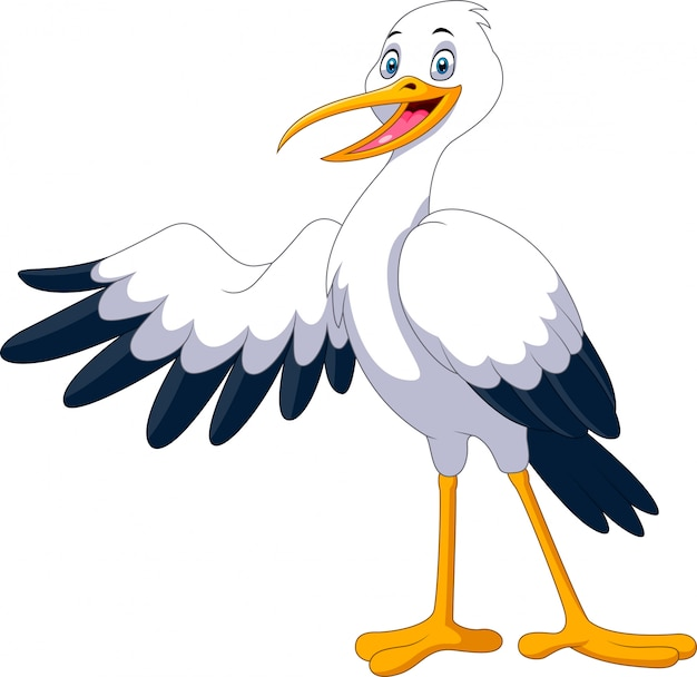 Cute cartoon stork posing waving