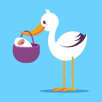 Cute cartoon stork with newborn baby vector illustration isolated.