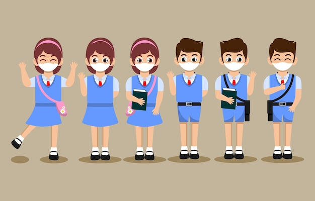 Cute cartoon of students character with face mask set