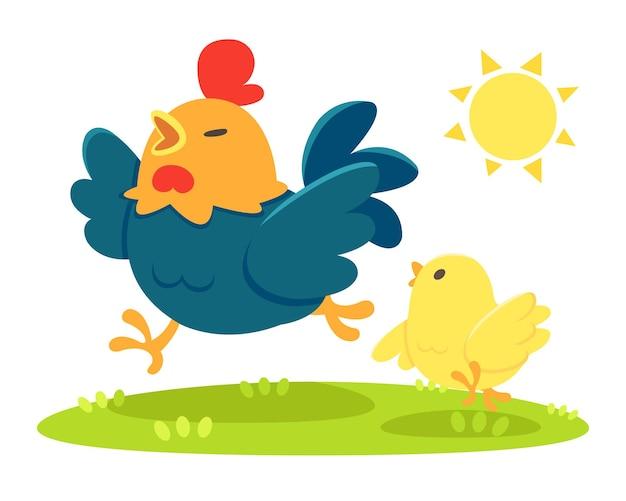 귀여운 만화 스타일 아버지와 아기 닭 햇빛 만화 그림에서 행복하게 실행