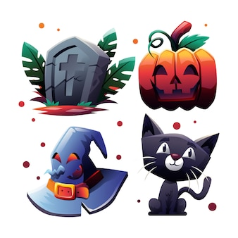 Cute cartoon style halloween item collection