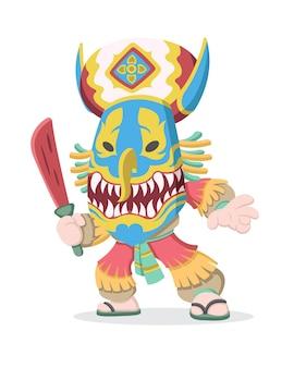 木製の赤い剣のイラストを保持しているタイの文化的なピタコンマスクを身に着けている男のかわいい漫画スタイル