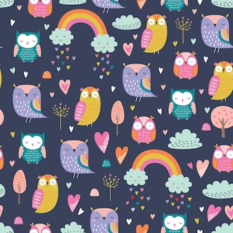 귀여운 만화 스타일 올빼미 패턴