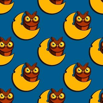 Cute cartoon style owls vector illustration seamless pattern