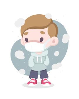 대기 오염 그림으로 둘러싸인 얼굴 마스크를 쓰고 귀여운 만화 스타일 아픈 남자