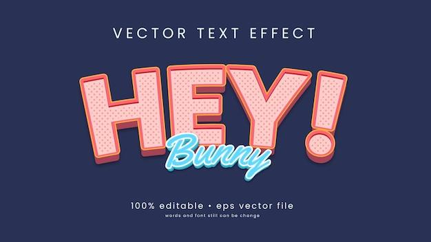 편집 가능한 텍스트와 귀여운 만화 스타일 텍스트 효과 디자인.