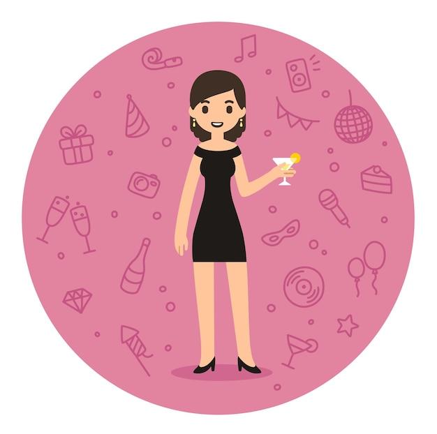 カクテルを保持しているパーティードレスのかわいい漫画スタイルの女性